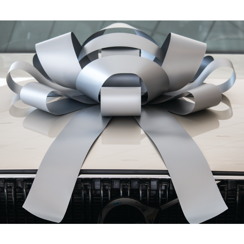 JUM-BOW Magnetic Car Bow - Silver **Backordered. Available in 2 weeks.