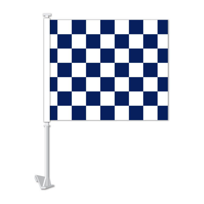 Clip On Window Flag - Checkered (blue/white)