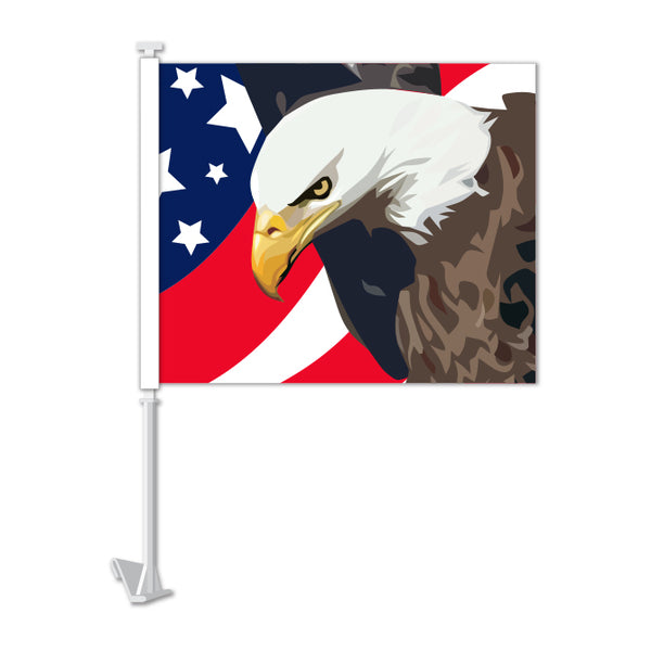 Clip On Window Flag - Patriotic Eagle