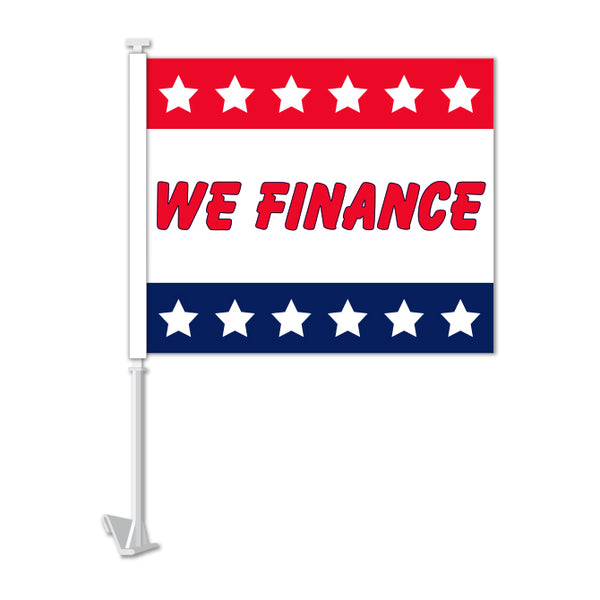 Clip On Window Flag - We Finance (stars)