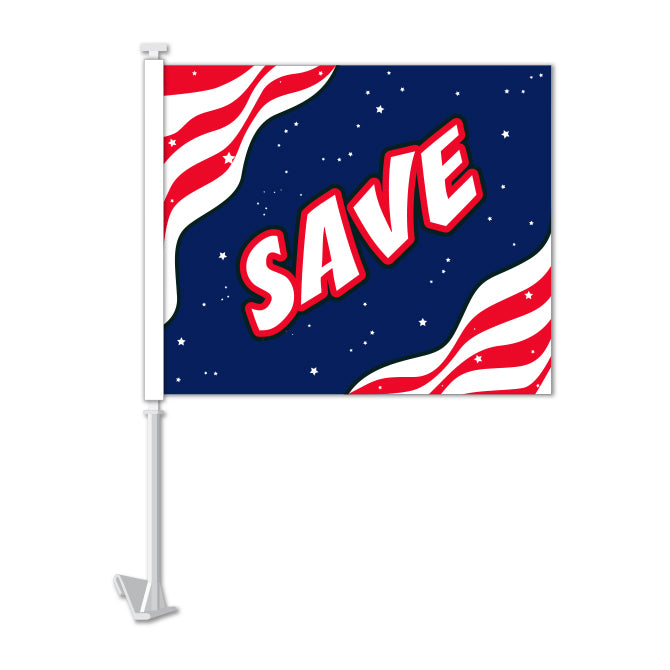 Clip On Window Flag - Save (stripes)