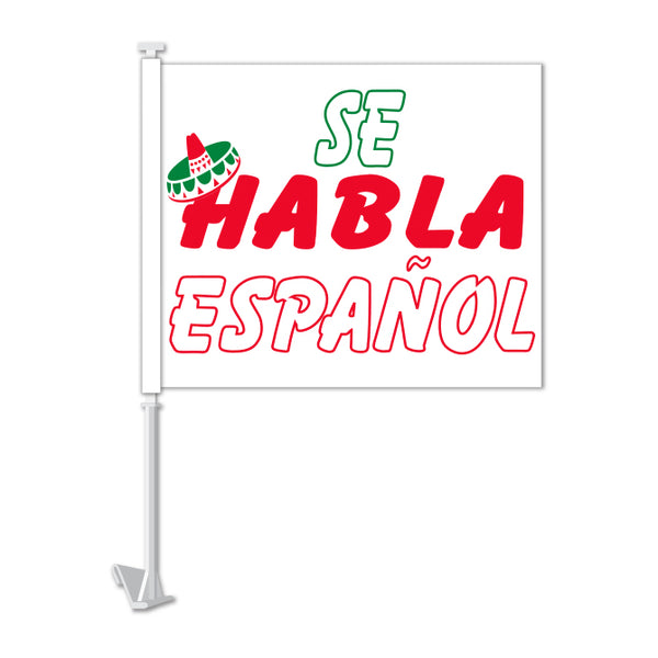 Clip On Window Flag - Se Habla Espanol