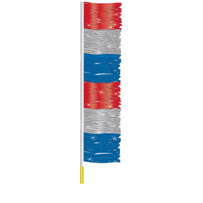 Ground Pennants- Red,Silver/Blue (Metallic) w/poles