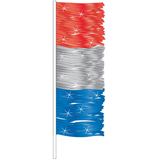 Antenna Flag - Metallic Fringe (Red,Silver,Blue)