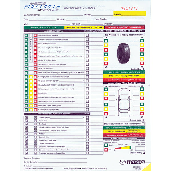Multi-Point Inspection Form - Mazda