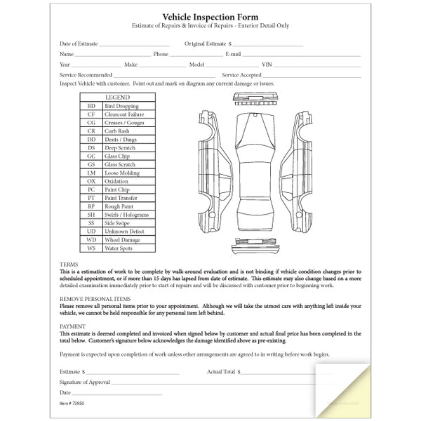 Vehicle Inspection and Estimate Form