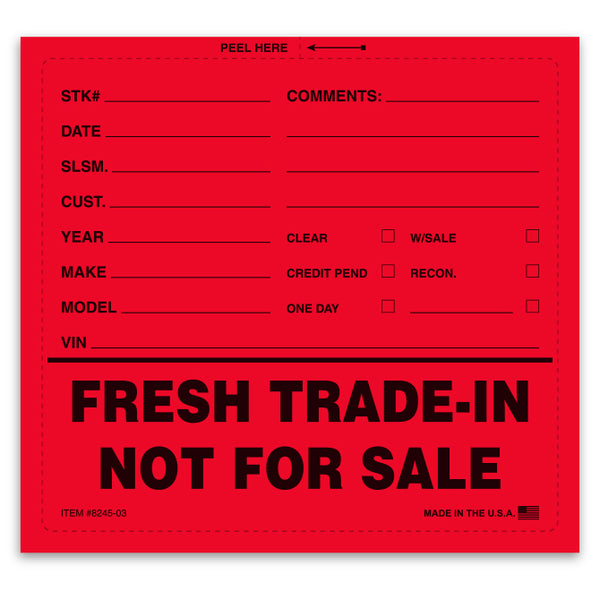 Fresh Trade-In Not For Sale Sticker