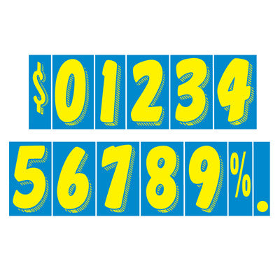 blue/yellow adhesive numbers