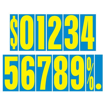 9.5 Blue/Yellow Adhesive Number