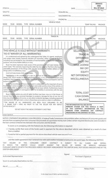 Bill of Sale / Contract Form