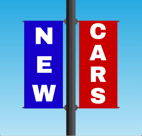 "Vinyl Light Pole Banner Sets - ""NEW CARS"""
