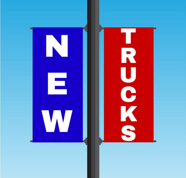 "Vinyl Light Pole Banner Sets - ""NEW TRUCKS"""
