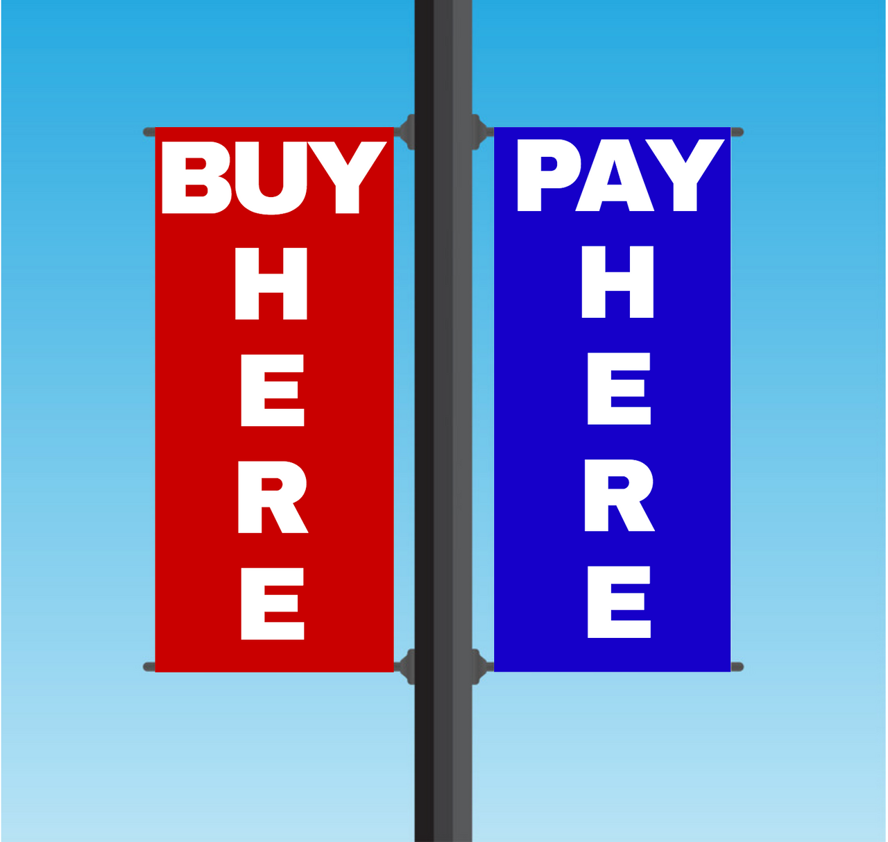 "Vinyl Light Pole Banner Sets - ""BUY HERE PAY HERE"""