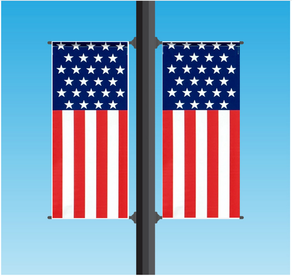 Vinyl Light Pole Banner Sets - American Flag
