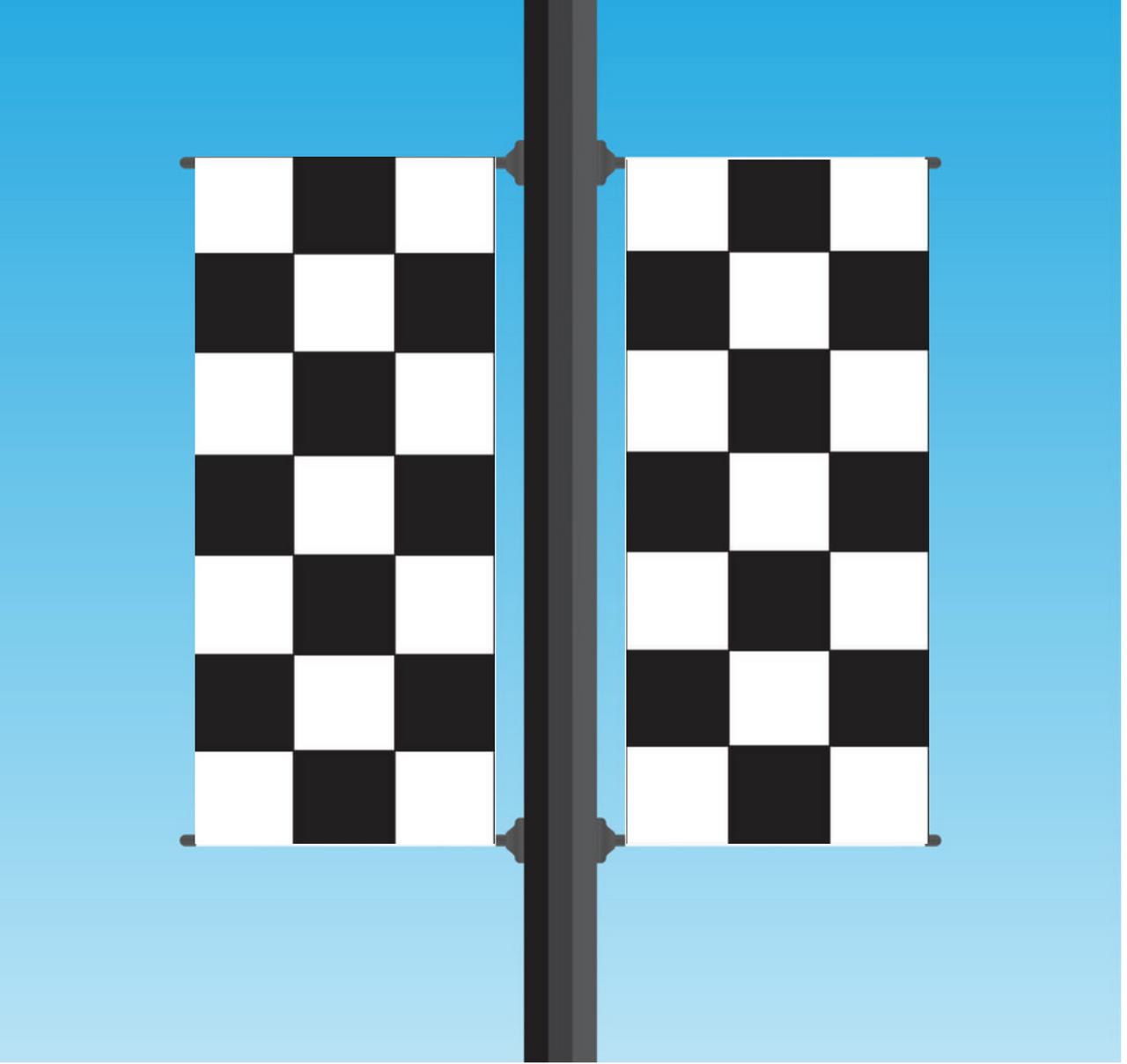Vinyl Light Pole Banner Sets - Checkered (Black / White)