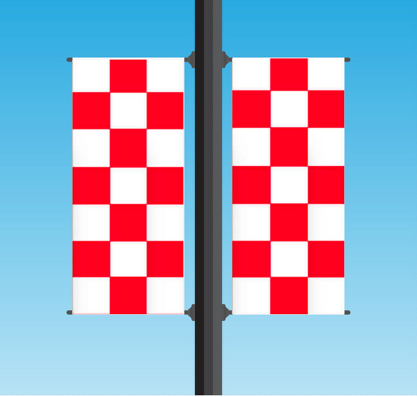 Vinyl Light Pole Banner Sets - Checkered (Red / White)