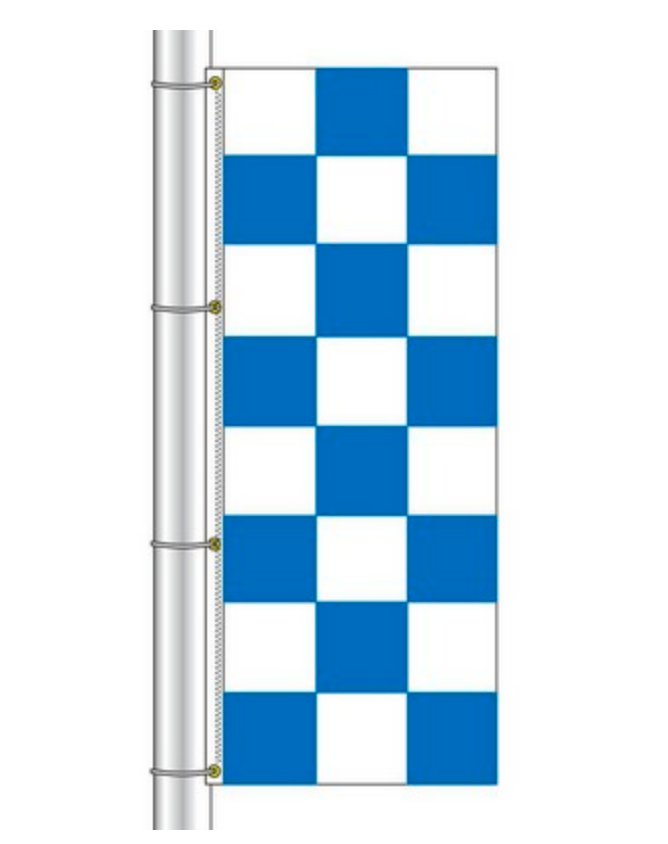 Drape Flag - Checkered / Blue and White