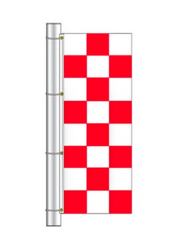 Drape Flag - Checkered / Red and White