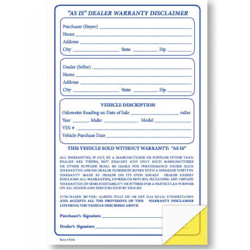 AS IS Warranty Disclamer Form