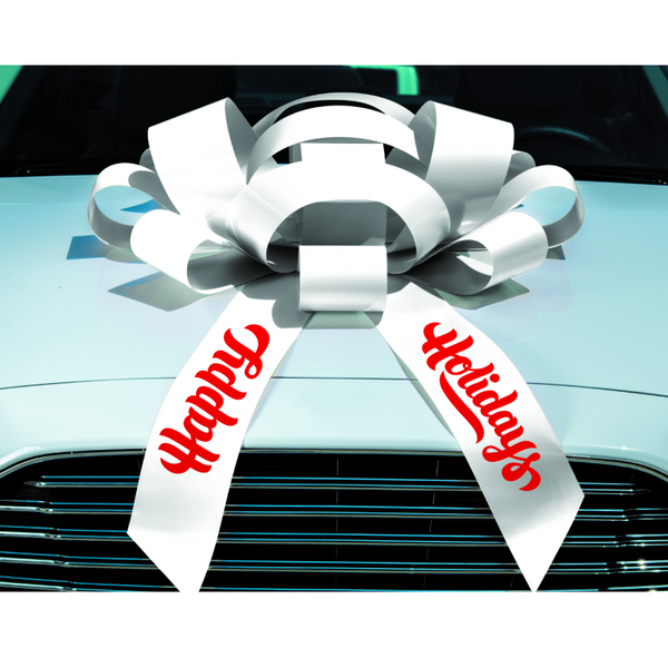 "JUM-BOW Magnetic Car Bow - White with ""Happy Holidays"" Imprint"