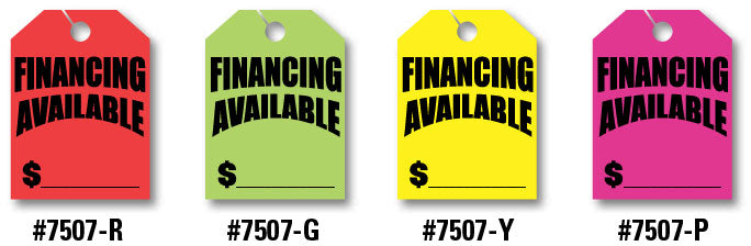 "Mirror Hang Tags (Jumbo) - ""Financing Available"""