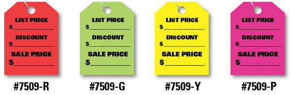 "Mirror Hang Tags (Jumbo) - ""List Price, Discount, Sale Price"""