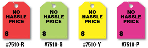 "Mirror Hang Tags (Jumbo) - ""No Hassle Price"""