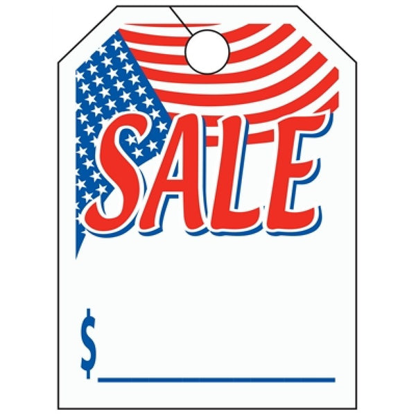 "Mirror Hang Tags (Jumbo) - ""Sale"" with U.S. Flag"
