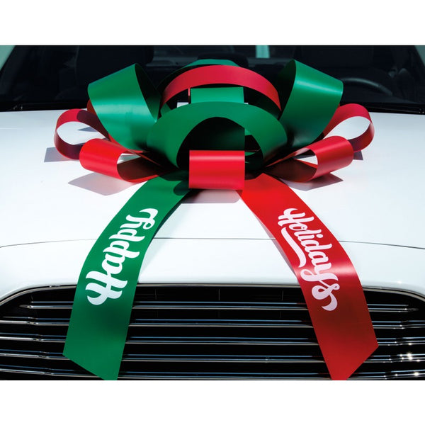 "JUM-BOW Magnetic Car Bow - Red and Green with ""Happy Holidays"" Imprint"