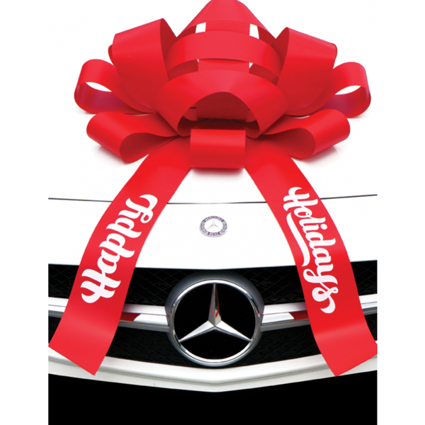 "JUM-BOW Magnetic Car Bow - Red with ""Happy Holidays"" Imprint"