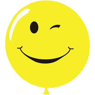 "17"" Latex Balloons Tuf-Tex - Yellow Smiley Face with Wink"