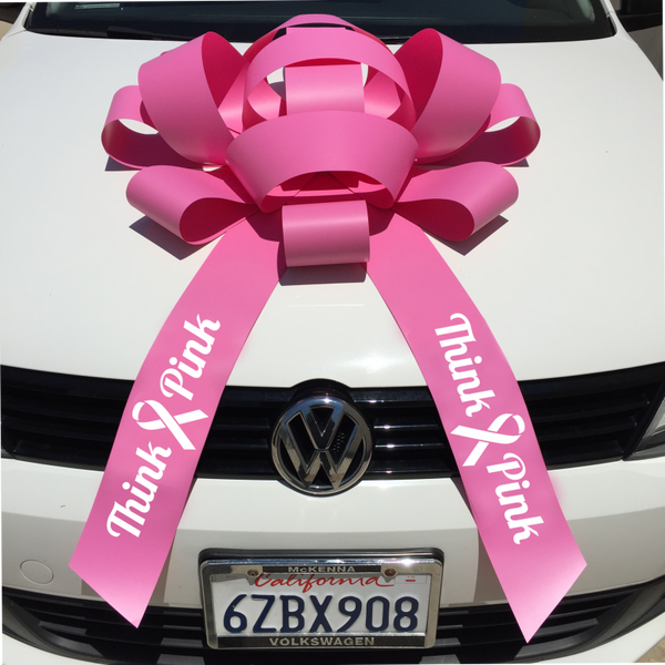 "JUM-BOW Magnetic Car Bow - ""Think Pink"" Imprint"