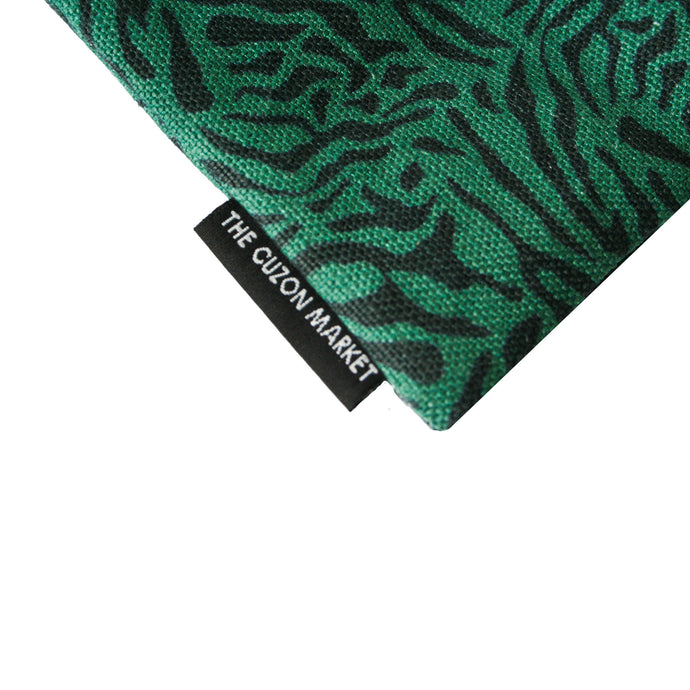 Luxury Designer Pouch - Printed Flat Pouch in Linen - Close up of print, inspired by camouflage and animal prints