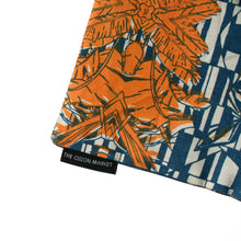 Designer Limited Edition Pouch – Screen Printed Flat Pouch in Cotton - Close up of tropical face print