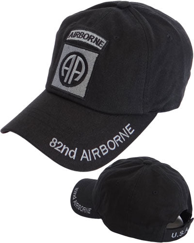 82 Airborne Black Cotton Cap