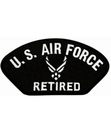 "Air Force Retired black 4"" Patch"