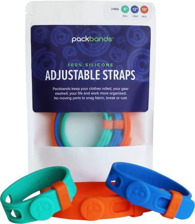 Packbands 3-Pack of silicone multi-use storage and organization straps