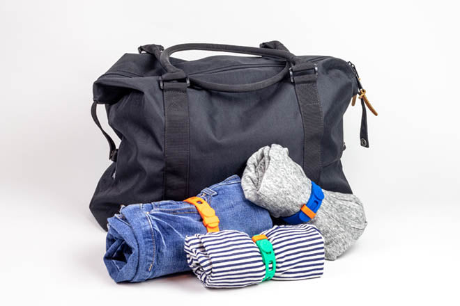 Packbands are the best travel accessory to secure rolled clothing when traveling or attach items to luggage, backpacks and purses
