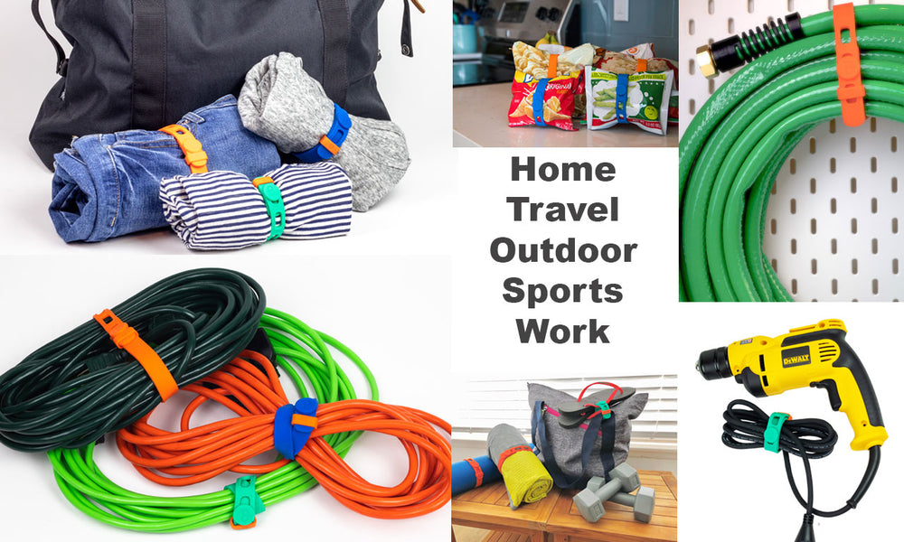Montage of multipurpose Packbands in use holding cords, securing fitness equipment, managing power tool cord, corralling a hose and sealing snack bags