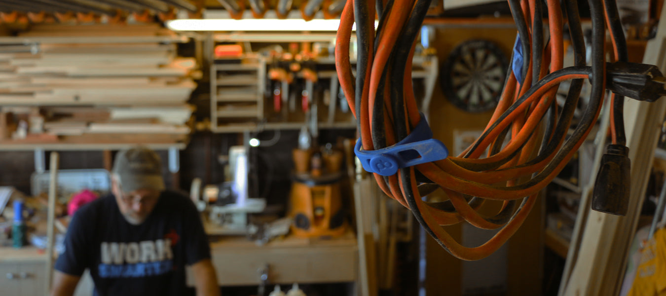 Use Packbands in the garage or workshop to hold cords, cables, ropes and hoses