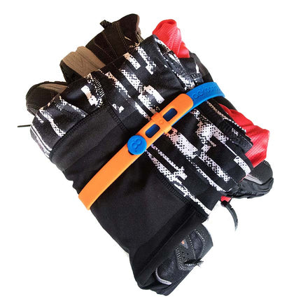 Attaching two Packbands together to make a longer storage strap, Packbands can hold exercise gear neatly