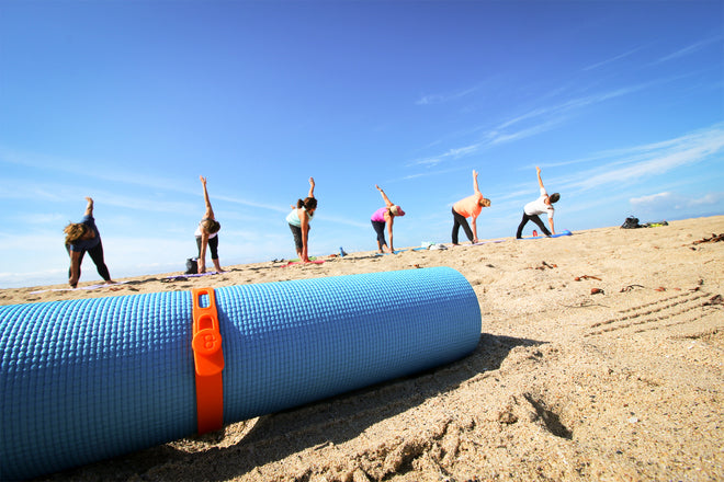 Packbands secure rolled yoga mat and other sports and fitness equipment