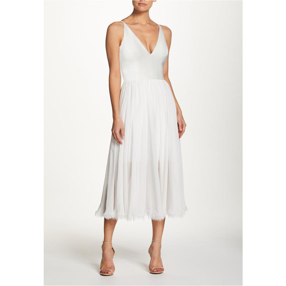 DRESS THE POPULATION | Off-White Alicia Fit and Flare Midi Dress - Fresh Fashion Library