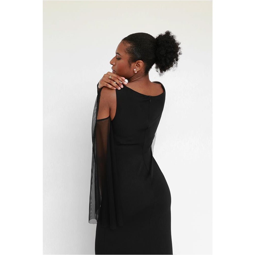 Luxe Collection | V-neck Sheer Sleeve Fitted Gown