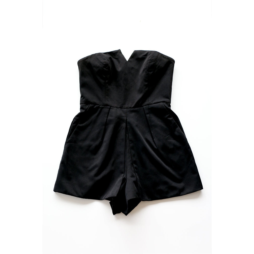 KIMCHI BLUE | Black Strapless Romper - Fresh Fashion Library