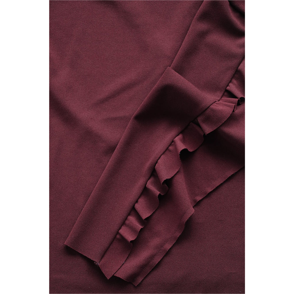 ZARA | Burgundy Ruffle Long Sleeve Top - Fresh Fashion Library