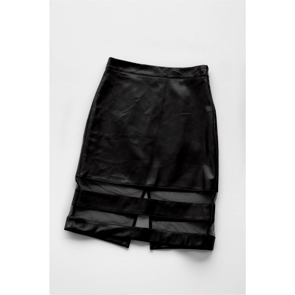 FOREVER 21 | Black Faux Leather Mesh Pencil Skirt - Fresh Fashion Library