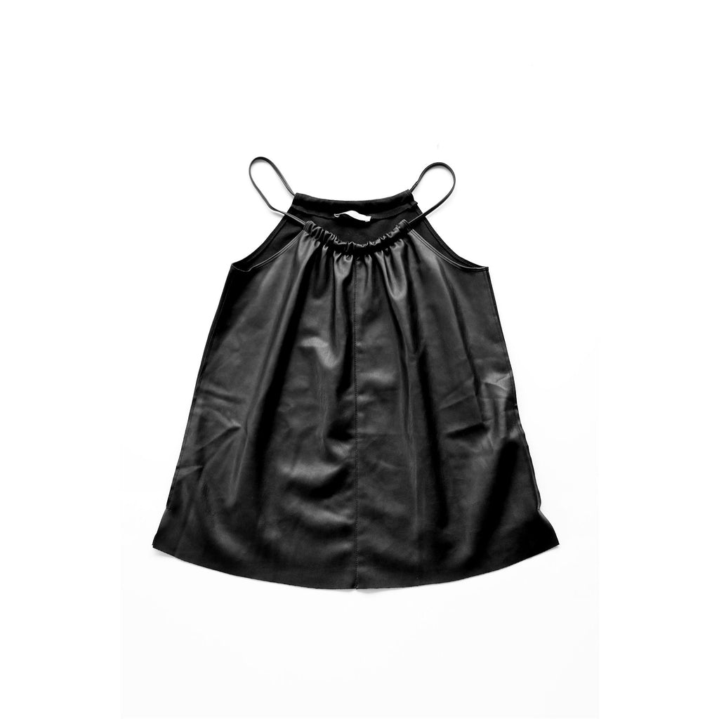 ZARA | Black Faux Leather Halter Neck Top - Fresh Fashion Library