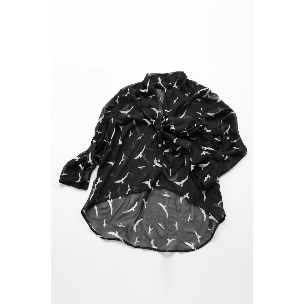 FASHION LIBRARY | Black Bird Print Chiffon Blouse