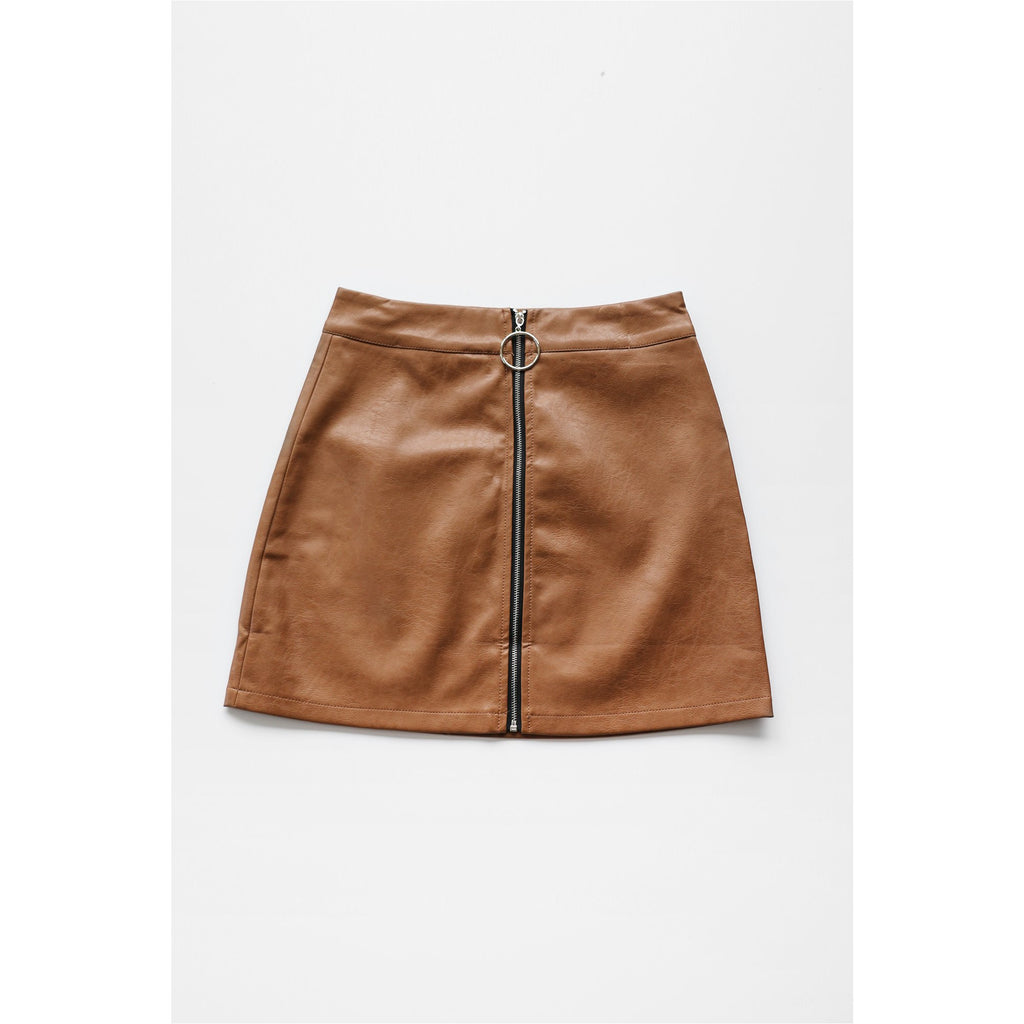 NUDE | Brown Faux Leather Mini Skirt